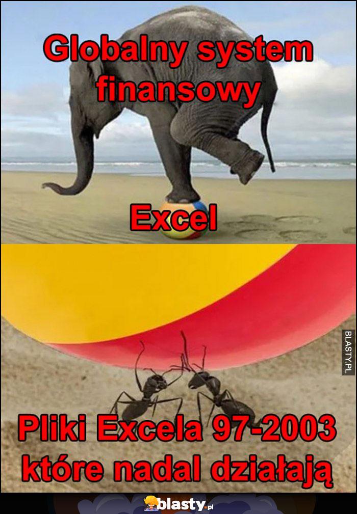 Globalny system finansowy słoń na piłce Excel, pod nią mrówki pliki Excela 97-2003 które nadal działają