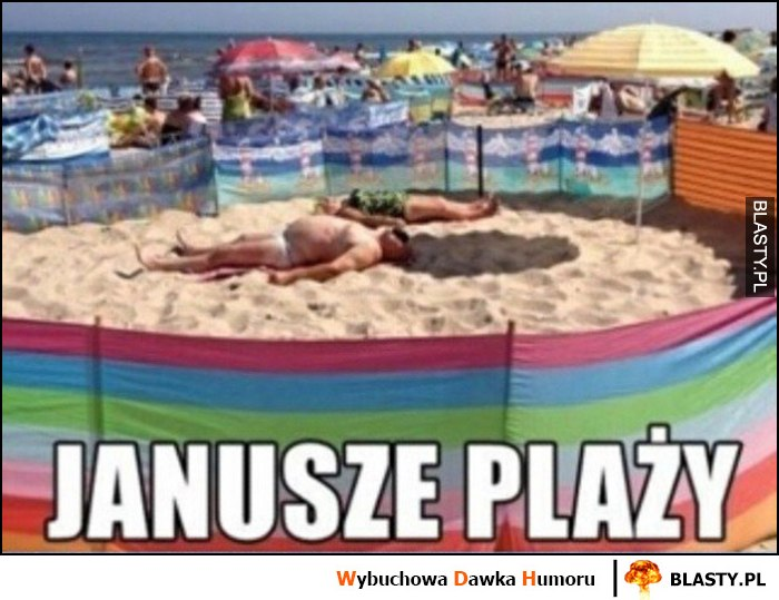 Janusze plaży ogrodzili sobie zagrodę parawanami