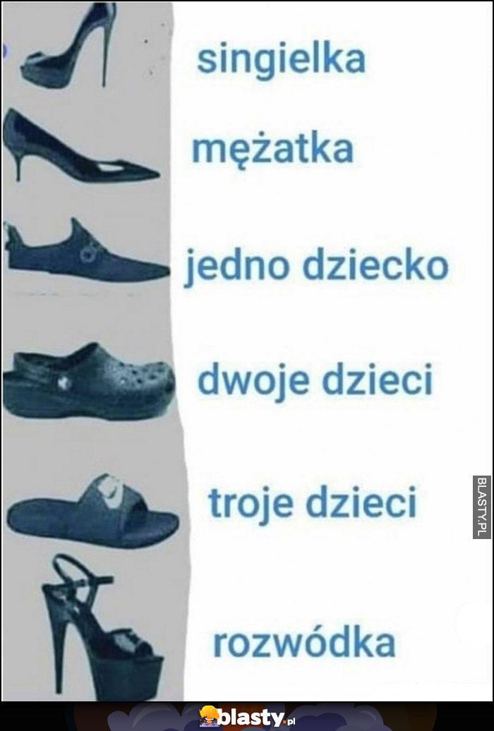 Kobieta jakie buty nosi singielka, mężatka, jak ma jedno, dwoje, troje dzieci, rozwódka