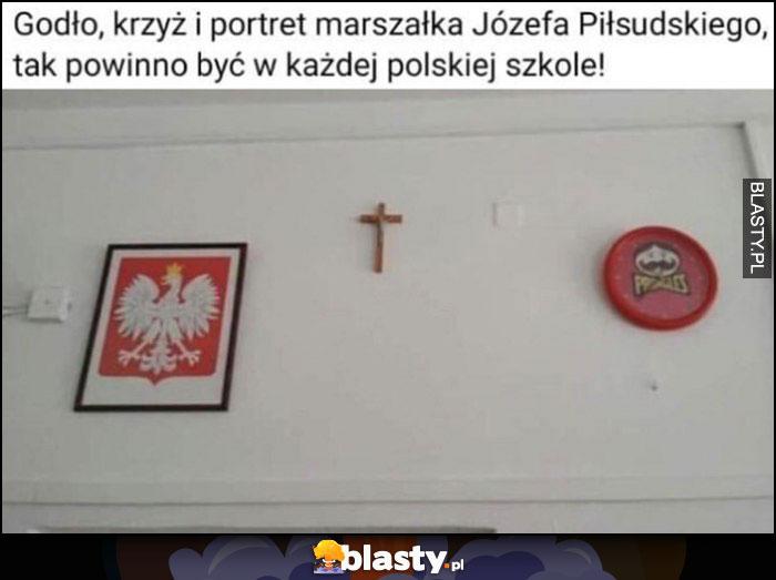 Godło, krzyż i portret marszałka Józefa Piłsudskiego, tak powinno być w każdej polskiej szkole Pringles