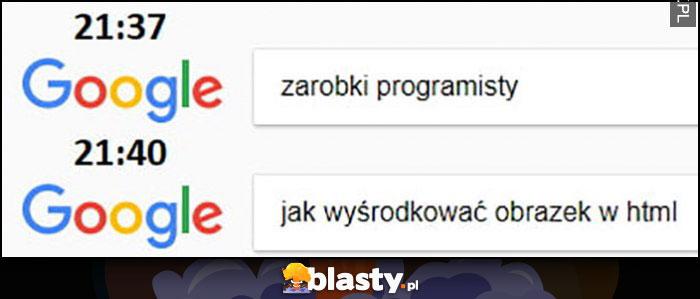Google: zarobki programisty, chwilę później jak wyśrodkować obrazek w html