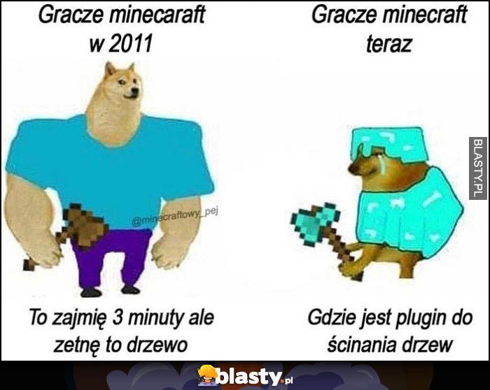 Gracze Minecraft w 2011 to zajmie 3 minuty ale zetnę to drzewo vs teraz: gdzie jest plugin do ścinania drzew pies pieseł doge