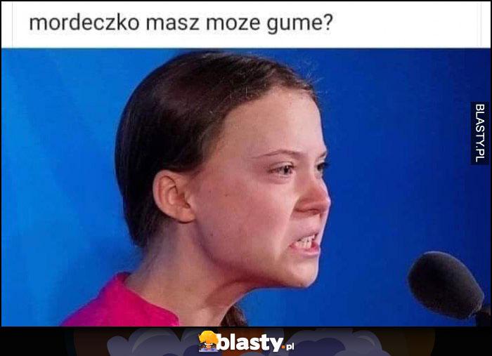 Greta Thunberg mordeczko masz może gumę? szczękościsk