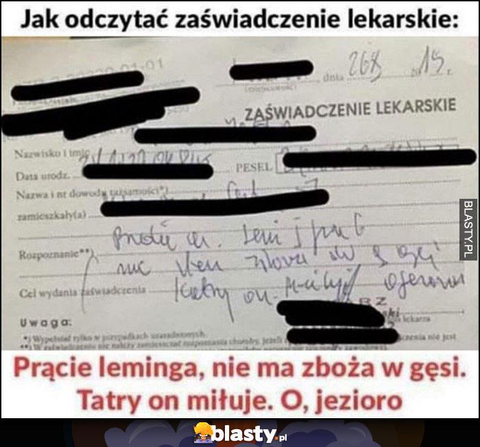 Jak odczytać zaświadczenie lekarskie: prące leminga, nie ma zboża w gęsi. Tatry on miłuje, o jezioro