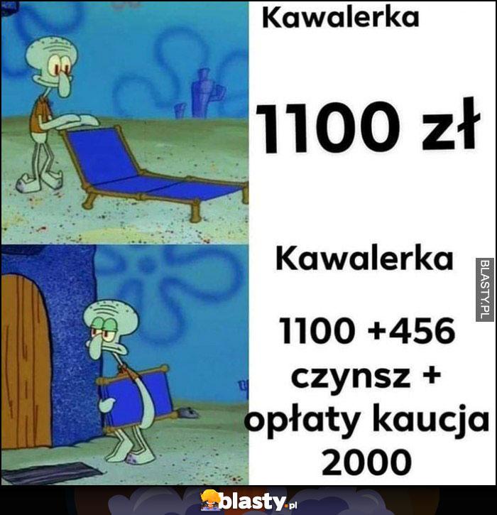 Kawalerka 1100 zł, tak naprawdę plus czynsz, opłaty, kaucja to 2000 zł Spongebob