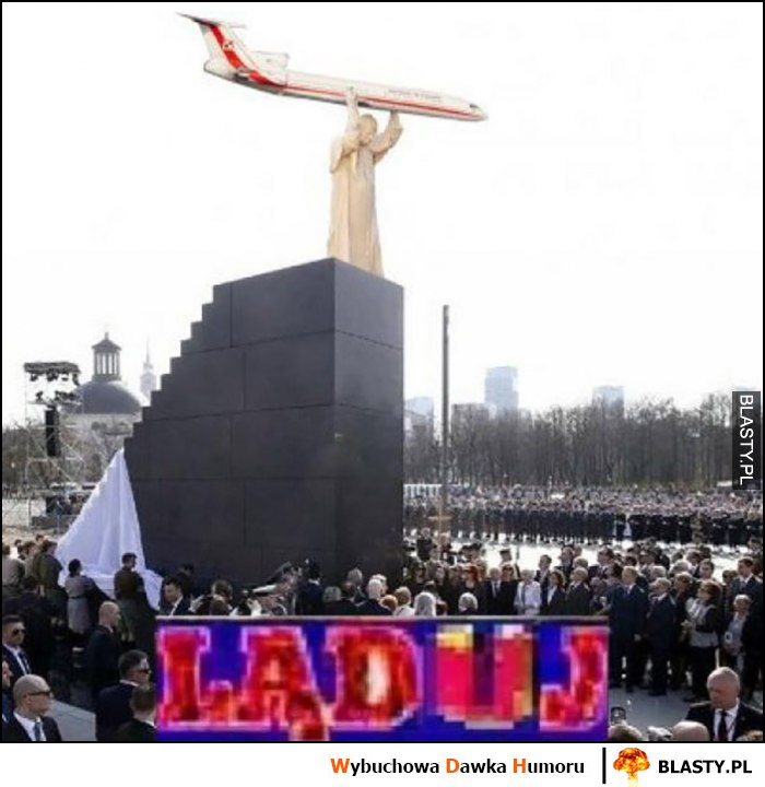 Ląduj pomnik papieża Jana Pawła II na pomniku Smoleńskim Tupolew