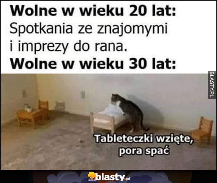 Wolne w wieku 20 lat: spotkania ze znajomymi i imprezy do rana vs wolne w wieku 30 lat: kot tableteczki wzięte, pora spać