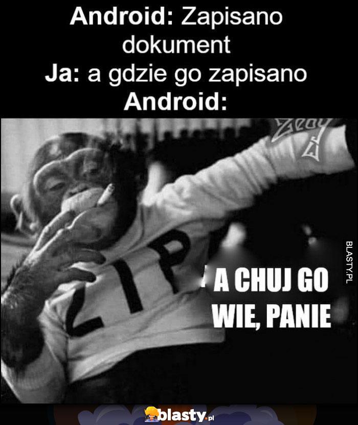 Android: zapisano dokument, ja: a gdzie go zapisano, android: a kij go wie, panie małpa
