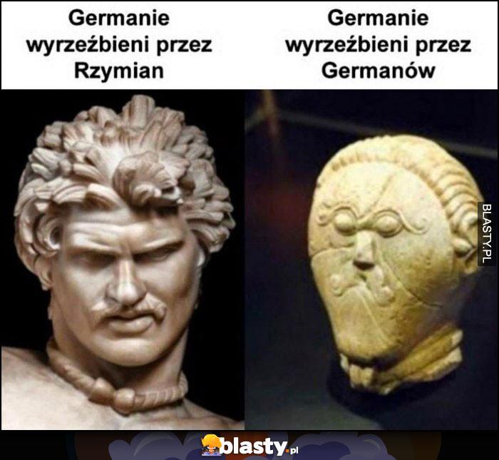 Germanie wyrzeźbieni przez Rzymian vs Germanie wyrzeźbieni przez Germanów posąg rzeźba porównanie