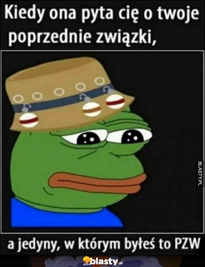 Kiedy ona pyta cię o twoje poprzednie związki, a jedyny w którym byłeś to PZW smutna żaba Pepe