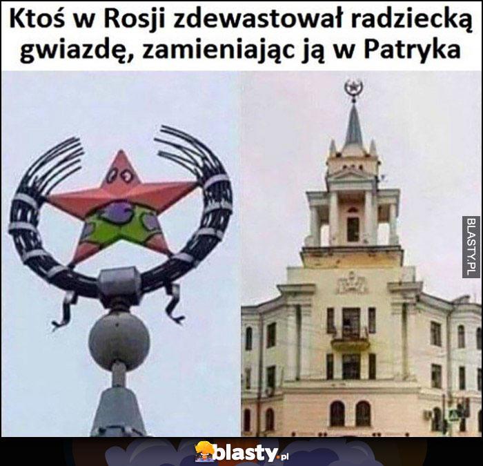 Ktoś w Rosji zdewastował radziecką gwiazdę zamieniając ją w Patryka Spongebob