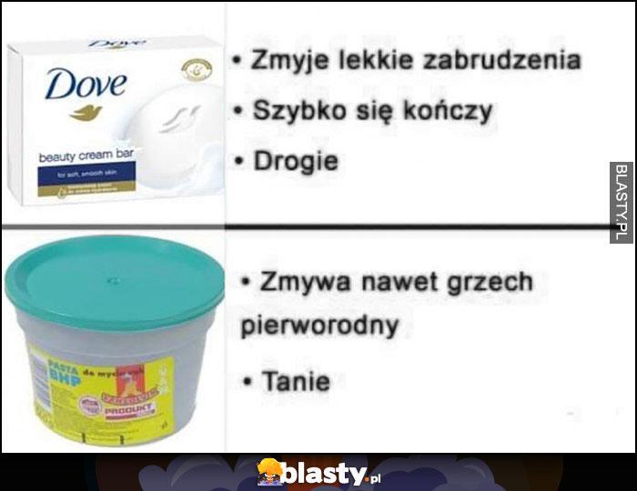Mydło Dove vs pasta BHP porównanie tanie drogie, zmywa nawet grzech pierworodny