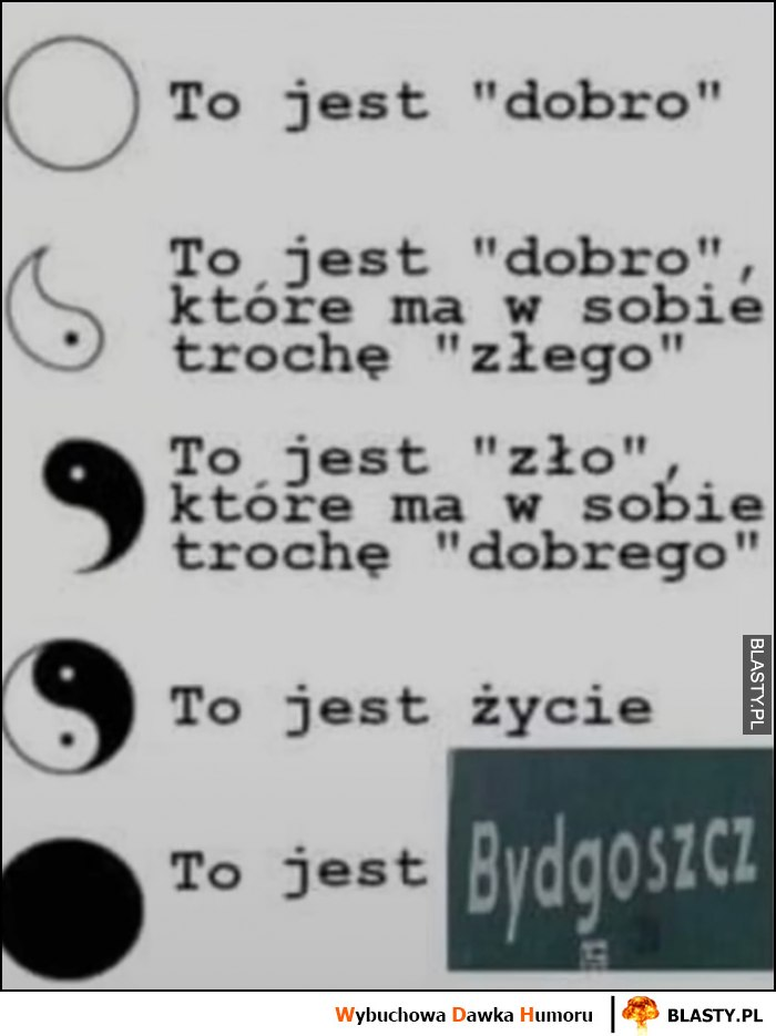 To jest dobro, to jest zło, to jest życie, to jest Bydgoszcz yin yang